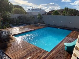 Contessa with decking pool blue